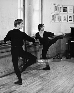 Russian-French dancer and actor Rudolf Nureyev (1938 - 1993) rehearses with Danish dancer and actor Erik Bruhn, 1962.
