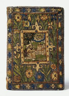 Tapestry bible cover woven in silk, silver and silver-gilt thread. Possibly Sheldon Tapestry Workshops c.1615