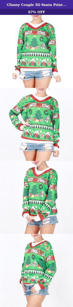 Cfanny Couple 3D Santa Print Ugly Christmas Sweatshirt Tops Cat Kitty. Cfanny Couple 3D Santa Print Ugly Christmas Sweatshirt Tops Anniversary gifts, wedding gifts, valentines day gifts, Christmas gifts, engagement party gifts, and bridal shower gift ideas.They are the essentials for every couple for this Christmas. 2016 Fashion Print Christmas Pattern Sweatshirt.