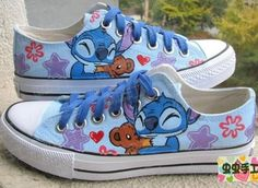 XT02 Lilo and Stitch Hand-painted Women Girl's Canvas Shoes +one tracking number. $23.99.