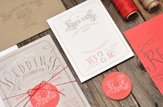 Vintage type wedding invitation