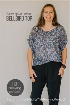 Learn why this is one of our most popular PDF sewing patterns. So easy it's perfect for beginners. A super quick sew with a designer finish, the Bellbird Top will grace your handmade wardrobe for every season. Instant download at The Sewing Revival Modern Sewing Patterns, Will And Grace, Popular, Easy, Handmade, Collection, Tops, Design, Women