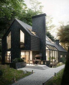 I love this black exterior with the multi-purpose chimney