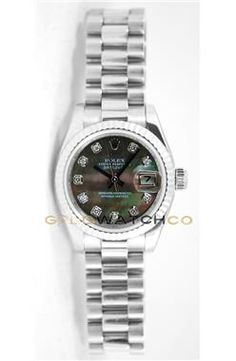 Rolex Ladys President New Style Heavy Band Model 179179 Custom Added Tehetian Mother Of Pearl Diamond Dial