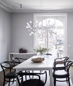 Fresh and inviting spacious apartment Dining Room Lamps, Dining Chandelier, Dining Room Design, Dining Rooms, Contemporary Dining Room Lighting, Modern Lighting, Contemporary Kitchens, Contemporary Bedroom, Contemporary Style