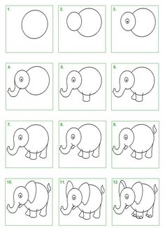 Elefante step by step Easy Drawings For Kids, Drawing For Kids, Art For Kids, Drawing Lessons, Art Lessons, Cartoon Drawings, Animal Drawings, Art Drawings, Directed Drawing
