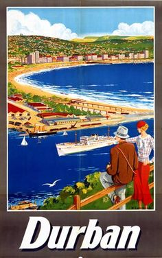 Vintage Railway Poster from Onslows - Poster for Durban South Africa; buy this as a superb giclee printed poster, framed poster print or canvas print. Durban South Africa, East Africa, Tourism Poster, Railway Posters, Kwazulu Natal, Holiday Resort, Vintage Travel Posters, Africa Travel, Beautiful Beaches