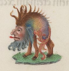hunchbackrainbow by Public Domain Review, via Flickr   selection of wonderful little illustrations found in a Book of Hours attributed to an artist of the Ghent-Bruges school and dating from the late 15th century. In the pages without full borders the margins have been decorated with an array of different images depicting flowers, birds, jewellery, animals, household utensils and these superb rainbow-coloured 'grotesques'