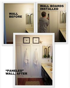 To add a little interest to plain walls add some 1″x4″ boards as depicted, then paint everything.