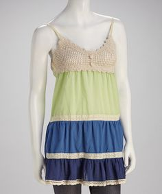 Take a look at this Blue & Green Crocheted Tank on zulily today!