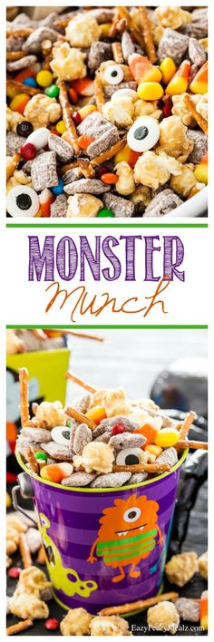 "Monster Munch is perfect for your little ""monsters"" great for monster themed birthday parties, Halloween, or just because. Buffet Halloween, Halloween Snacks, Halloween Birthday, Baby Halloween, Holidays Halloween, Birthday Ideas, Halloween Stuff, Halloween Makeup, Halloween Decorations"