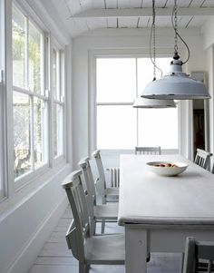 white, old enamel pendant lights Nice angle. Could add more whit product to table
