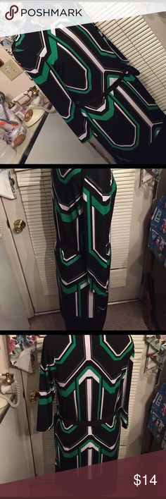 New York company stretch dress size small New York. Company stretch fitting dress size small  with belt  arm pits to bottom 13 neck to bottom 37 inches has black five inch band all way around this is a beautiful blab  white green striped sexy sexy  stretch dress  u will Stand out in crowd after five  size small 99 polyester 5 percent  spandex made in Philippine new yorks company Dresses Midi