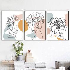 Pink Wall Art, Wall Art Sets, Face Line Drawing, Drawing Tips, Drawing Art, Art Minimaliste, Wall Decor, Room Decor, Diy Canvas Art