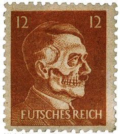 """""""Operation Cornflakes was a mission to trick the German postal service into inadvertently delivering anti-Nazi propaganda to German citizens.  """"Special planes airdropped bags of false, but properly addressed, mail in the vicinity of bombed mail trains. When recovering the mail, the postal service would confuse the false mail for the real thing. Copies of this 'death head' stamp were inserted in the envelopes along with other propaganda materials."""""""