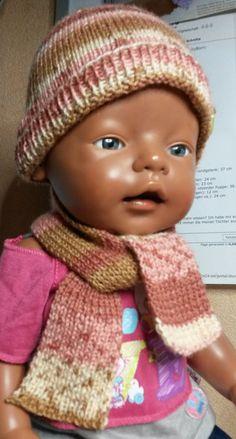 Puppenkleidung - Mütze mit Schal braun - ein Designerstück von by_Masha bei DaWanda