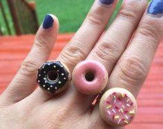 Roze Donut Ring voedsel sieraden miniatuur voedsel door FemininCo