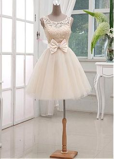 Buy discount Chic Lace & Satin & Tulle Bateau Neckline Short A-line Homecoming Dress at Dressilyme.com