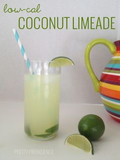 low-cal coconut limeade! everyone asks me how I make this - it's SO easy. Cocktails, Non Alcoholic Drinks, Party Drinks, Cocktail Drinks, Fun Drinks, Healthy Drinks, Beverages, Cold Drinks, Mixed Drinks