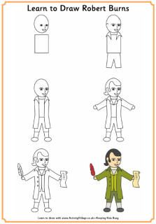 Information and printables, including how to draw Robert Burns