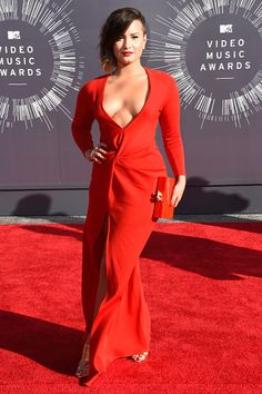 Demi Lovato photographed on the red carpet at the 2014 MTV Video Music Awards in Inglewood.