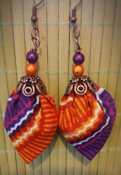 "Original Earrings ""Purple Wax"": Earrings by tidi . Diy African Jewelry, African Accessories, African Earrings, African Beads, Handmade Accessories, Handmade Jewelry, Fabric Earrings, Diy Earrings, Textile Jewelry"