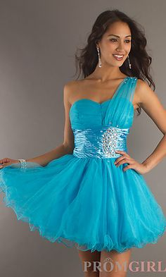 One Shoulder Party Dress at PromGirl.com
