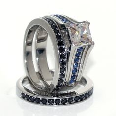 $35 Thin Blue Line Women's Engagement Ring Set Stainless Steel CZ Princess Cut, Thin Red Blue Line - Donations made to firefighter and police charities