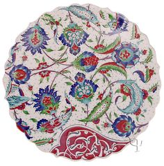 Iznik Design Ceramic Plate - Classical Iznik An important cultural center during the reign of Suleyman the Magnificent, the rural town of Iznik Glazes For Pottery, Ceramic Pottery, Pottery Art, Ceramic Art, Slab Pottery, Turkish Art, Turkish Tiles, Portuguese Tiles, Moroccan Tiles