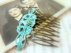 Hair comb Antique style comb in Blue Hair accessory by WhiteTeapot, $19.00