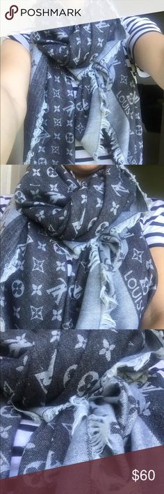 Black & grey scarf ❗️NOT AUTHENTIC❗️black and grey scarf. 180cm x 180cm. Price reflects obvious. Good quality. Size large. Louis Vuitton Accessories Scarves & Wraps