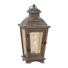 Pre-Lit Starry Lights Wooden Lantern | Kirklands