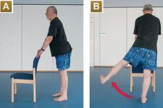 If you're not very active, you may want to get the all clear from a doctor before starting.  A - Rest your hands on the back of a chair for stability.   B - Raise your left leg to the side as far as is comfortable, keeping your back and hips straight. Avoid tilting to the right.    C - Return to the starting position. Now raise your right leg to the side as far as possible. Raise and lower each leg five times.