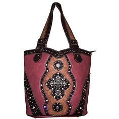 Rhinestone Cross Flower Hobo Style Leather Shoulder Handbag Purse And Matching Wallet In Red 5259