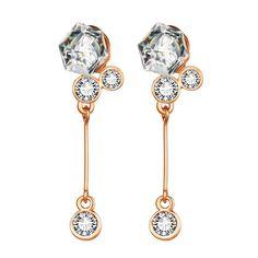 18K Rose Singular Drop Earrings with Austrian Crystal Jewels Made with Austrian Crystal Elements only by: Rub, Women's