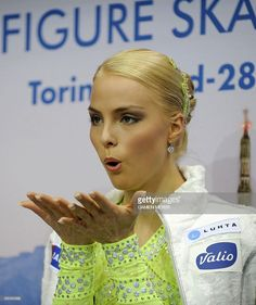 Finland's Kiira Korpi waits for her scores after performing during the Ladie's Short Program competition at the World Figure Skating Championships on March 26, 2010 at the Palavela ice-rink in Turin.