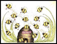 Bumble Bee Drawings | Folk Art Bumble Bees Bee Skep Summer MHA by CottageGardenStudios