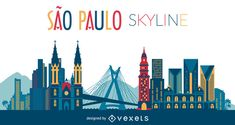 Illustration featuring Sao Paulo skyline with silhouettes of classic buildings and cultural landmarks. Skyline includes Mirante do Vale and more. Skyline Design, Skyline Art, Skyline Silhouette, Silhouette Design, Sp City, Los Angeles Skyline, City Tattoo, Tattoo Shop, Skyline Painting