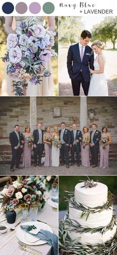 8 Best Navy Blue Wedding Color Ideas for 2020 - EmmaLovesWeddings navy blue and lavender wedding col Lavender Wedding Colors, Navy Wedding Colors, Sage Green Wedding, Winter Wedding Colors, Navy Blue Weddings, Wedding Navy, Winter Weddings, Wedding Color Schemes, Dream Wedding