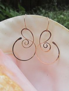 Nice and simple. Very clean and elegant. Free Form Bronze Earrings by silverdawnjewelry on Etsy