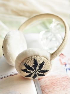 Jacquard Snowflake Woolen Earmuff - Hats - Accessories Free shipping