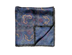 Small square silk scarf Vintage Blue print neck scarf small neck scarf bandana