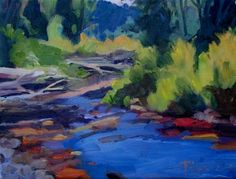 Little Quilcene River oil landscape painting -- Robin Weiss