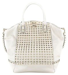 62f37aacf04 Valentino Rockstud Leather Studded White Satchel. Save 64% on the Valentino  Rockstud Leather Studded