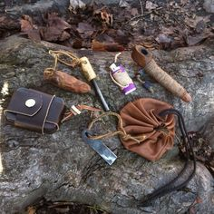 A little of my choicest #fire #kit. Most of the work's by my buddy Jimmy @leftyinthewoods , also @wilderforge and myself #bushcraft #firecraft #fire #leather #leatherwork #newilderness by our friend...