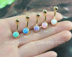 Five Colors Fire Opal Belly Button Ring Opal Navel Piercingwhite opal purple opalgreen opalpink opalblue opal button ring (6.99 USD) by woodredrose