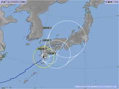 台風17号 2013年9月4日 午前4時 時点(現住所は台風通過の道筋だったと思うが殆ど影響無し)