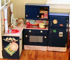 DIY Children's Kitchen http://www.apartmenttherapy.com/how-a-play-kitchen-comes-together-166737  #child #kitchen #diy