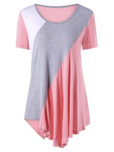 Color Block Asymmetrical Tunic Top - PINK XL