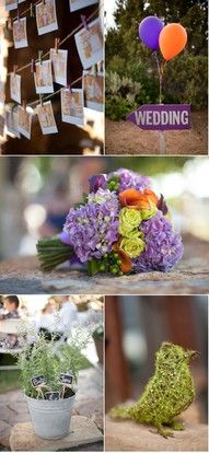 Purple and Orange Wedding. like the balloons to mark the path.